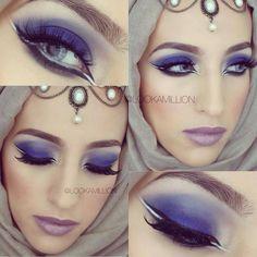 unique blue smokey eye with a dash of white #LookAMillion