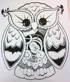Steampunk owl by on deviantart for Huma bird tattoo