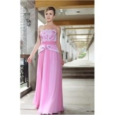 Sheath/ Column Strapless Floor-length Chiffon Pink Evening/Prom Dress with Flower(s)