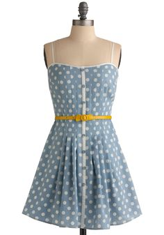 Loca for Polka Dress - Blue, Yellow, White, Polka Dots, Bows, Buckles, Buttons, Pleats, Trim, Party, Casual, Vintage Inspired, A-line, Spaghetti Straps, Spring, Summer, Short