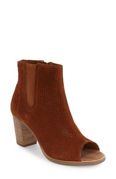 Free shipping and returns on TOMS 'Majorca' Suede Bootie (Women) at Nordstrom.com. Immaculate square perforations lend geometric élan to a lush suede bootie with a saucy peep toe.