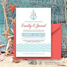 Printable Nautic Invitation Coral & Blue Chevron - Summer Seaside Weddings Invite EDITABLE Cards Template Diy INSTANT DOWNLOAD Digital file