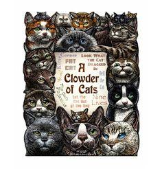 A Clowder of Cats Cat Art Print