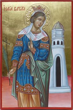 Saint Barbara  hand painted orthodox icon created by Bulgarian artist Georgi Chimev. Orthodox Icons, Icons hand painted, Icons Orthodox, Art Icons, Art Iconography, Icons Святые, Faith Icons, Contemporary Icons