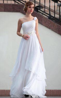 Fancy A-line One-shoulder Floor-length Dress
