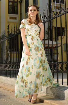 Jolie robe longue imprimée pour les beaux jours