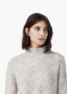 Джемпер комбинированной вязки -  Женская | MANGO