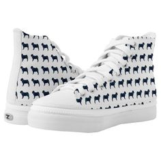 Pug Black Watercolor Silhouette Shoes Printed Shoes