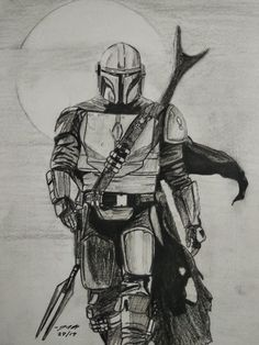 Pencil sketch of The Mandalorian. Pencil Sketch Portrait, Pencil Sketch Drawing, Sketch Painting, Pencil Art Drawings, Star Wars Pictures, Star Wars Images, Desenho Do Star Wars, Yoda Drawing, Star Wars Drawings