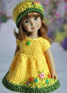 Picture 2 of 3 Knitting Dolls Clothes, Crochet Doll Clothes, Knitted Dolls, Girl Doll Clothes, Crochet Dolls, Girl Dolls, Crochet Baby, Baby Dolls, Baby Knitting Patterns