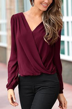 Burgundy Ladies Style V-neck Lace T-shirt from mobile - US$15.95 -YOINS