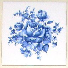 Delft blue rose ceramic tile