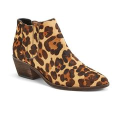 Women's Joie 'Barlow' Leopard Print Bootie (421 CAD) ❤ liked on Polyvore featuring shoes, boots, ankle booties, leopard print boots, calf hair ankle boots, leopard boots, leopard short boots and leopard print booties