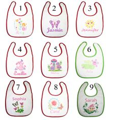 personalised embroidery Baby girls garden theme collection with 9 bibs $55.00 by BabysPreciousGifts