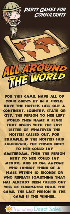 Party Games for Women - Geography Party Games  Could totally be adapted to online game!