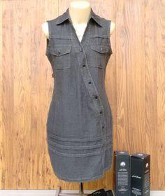 chemise jeans black - vestidos sevintage official
