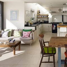 Kitchen Extension Ideas – Searching for wonderful kitchen extension ideas ? Our feature of light and splendid kitchen extension ideas wil. Kitchen Diner Lounge, Small Open Plan Kitchens, Open Plan Kitchen Dining Living, Open Plan Kitchen Diner, Open Kitchen, Lounge Diner Ideas, Space Kitchen, Small Dining, Living Room Extension Ideas