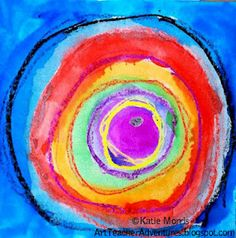 Adventures of an Art Teacher: Kindergarten Wax-Resist Kandinskys. I could teach this at the same time I teach grade Kandinsky circles. Kindergarten Art Lessons, Art Lessons Elementary, Kandinsky Art, Ecole Art, Preschool Art, Art Lesson Plans, Art Classroom, Art Plastique, Art Activities