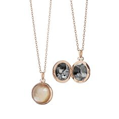 18K Rose Gold Petite Round Double-Sided Rock Crystal over Cognac Mother of Pearl Stone Locket