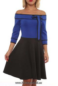 Schulterfreies Kleid Joline Knielang Blau