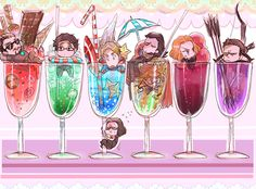 OMG BUCKY IS CLINGING TO STEVE'S GLASS LIKE THE LITTLE LOYAL BFF HE IS, ALL INCONSPICUOUS-LIKE BECAUSE HE WANTS TO BE THERE FOR STEVE EVEN IF NOT RIGHT THERE, THEN THERE'S STEVE LOOKING FOR BUCKY AND READY TO JUMP OUT OF HIS CUP TO JOIN CLINGING TO BUCKY, AND OH OH, THOR IS SCUBA DIVING IN HIS AND LOKI'S CUP, THIS IS SO PERFECT.