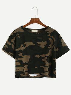 Camo Print Distressed Crop T-shirt Mobile Site