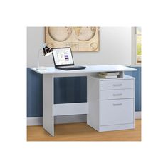 Bianca White Writing Desk  - A Stylish Addition to Any Office - 120 x 48 x 75.5 cm