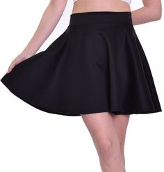 Women's Versatile Stretchy Casual Mini Flared Skater Skirt - Black /X-Large #CustomMade #FlaredSkaterSkirt