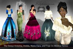 Ternos -- in the styles of Dona Victorina, Imelda, Maria Clara and Mestiza Philippines Outfit, Philippines Fashion, Filipiniana Dress, Filipino Fashion, Filipino Culture, Long Skirts For Women, House Dress, My Little Girl, Dance Costumes