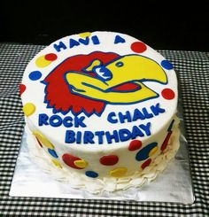 KU Jayhawk themed Birthday Cake all buttercream with handcut fobdant Jayhawk and accents