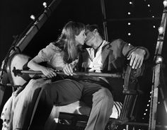 James Dean and Julie Harris kissing scene in East of Eden, 1955. His jawline is perfection.