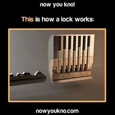 How a lock works - I refuse to confess to the amount of time I've spent just watching this gif. And the amount of time I've spent trying to pick locks. Cool Ideas, The More You Know, Good To Know, Wtf Fun Facts, Crazy Facts, Random Facts, Little Bit, Science, Looks Cool