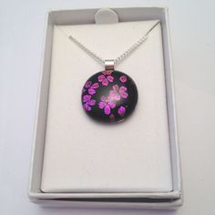 Flower pendantpink pendantpurple by BeautifulGlassbyZoe on Etsy