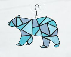 ***This item is made to order. Please allow 1 to 2 weeks for item to be made, prior to shipping.*** Handmade geometric polar bear stained