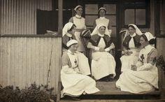 Nurses at a war hospital posing for a photograph, 1914-1918.