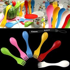 Estone® 6Pcs Travel Utensils Spoon Fork Knife Cutlery Camping Outdoors Spork Combo Set * Click image to review more details.