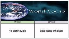 to distinguish - auseinanderhalten German Vocabulary Builder Word Of The Day #185 ! Full audio practice at World Vocab™! https://video.buffer.com/v/580df326ae5aecd7038b456a