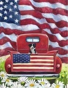 A bright red antique truck with a friendly little black and white pup riding in the bed is the subject of this rustic Americana scene. American flags, green g Truck Paint, Antique Trucks, Vintage Trucks, Outdoor Flags, Outdoor Decor, Thing 1, House Flags, Illustrations, Flag Design
