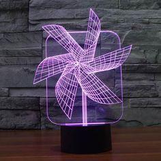 Creative Colors Windmill Acrylic Visual Light LED Lamp Home Table Decoration Lamps Bedroom Night Light Kid's Gifts Lampe Led, Led Lamp, Lampe Tactile, Bedroom Night Light, Best Night Light, Novelty Lighting, Creative Colour, Pinwheels, Lamp Design