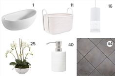 Get the Look - Jo & Damo's Bathroom & Laundry - The Block NZ 2014 - Visit blog.curate.co.nz for links to products  |  Aveo Freestanding Bath by Villeroy & Boch from Paterson;  Coil Storage Basket, Ayre Soap Dispenser and Foliage Phalaenopsis Orchid from Freedom; Carmelia 1L Pendant from Lighting Direct; Charcoal Kito Tiles and Italian Wood Tiles from Independent Ceramics