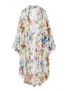 Women Short Sleeve Floral Batwing Chiffon Cardigan
