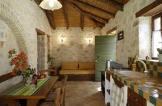 Kitchenette in Greek apartment Kitchenette, Studio Apartment, Warm Colors, Dining Table, Indoor, Traditional, Luxury, Villas, Apartments