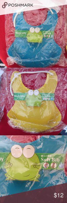 Bibs Baby Soft Food Catcher 2 New Baby Nicole Adjustable Bibs. Pvc & Pba Free. Yellow & Blue.  New in Wraps. Nicole Baby Accessories Bibs
