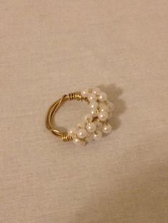 Pearl Beaded Wire Wrapped Cluster Ring by UniqueHanMadeJewelry, $14.95
