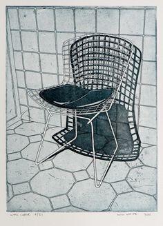 Original Etching - 'Wire Chair' - Etching by William White.