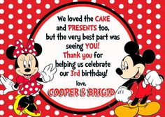 Mickey & Minnie Mouse Thank You Card by Asapinvites on Etsy, $10.00