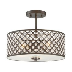 Entry - Quoizel Juliana 14.25-in W Bronze Etched Glass Semi-Flush Mount Light