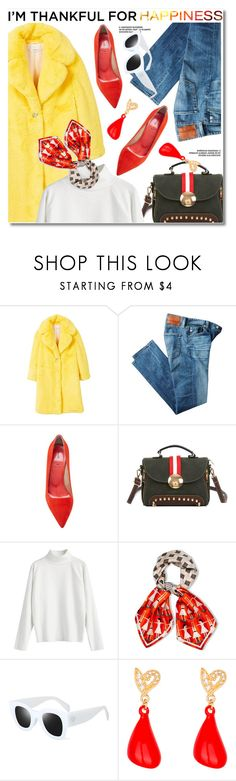 """I'm Thankful For Happiness"" by paculi ❤ liked on Polyvore featuring MANGO, AG Adriano Goldschmied, aeydē, yellow, red, fuzzy, fauxfur and thanksgiving"