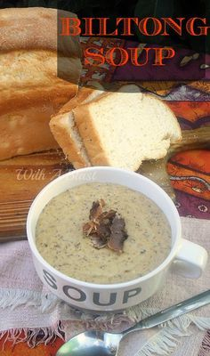 """Biltong Soup ~ Delicious, rich and hearty soup made using traditional South-African Biltong which is similar {but not same} as """"Beef Jerky"""" - South African Dishes, West African Food, South African Recipes, Chowder Recipes, Soup Recipes, Cooking Recipes, Curry Recipes, Oven Recipes, Hardboiled"""