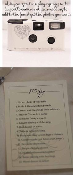 Rhodes Wedding Wishes Ltd like -   Eye spy at weddings ~ A fun idea with disposable cameras, ask guests to play eye spy to get a list of photos you want from your wedding. by cassandra
